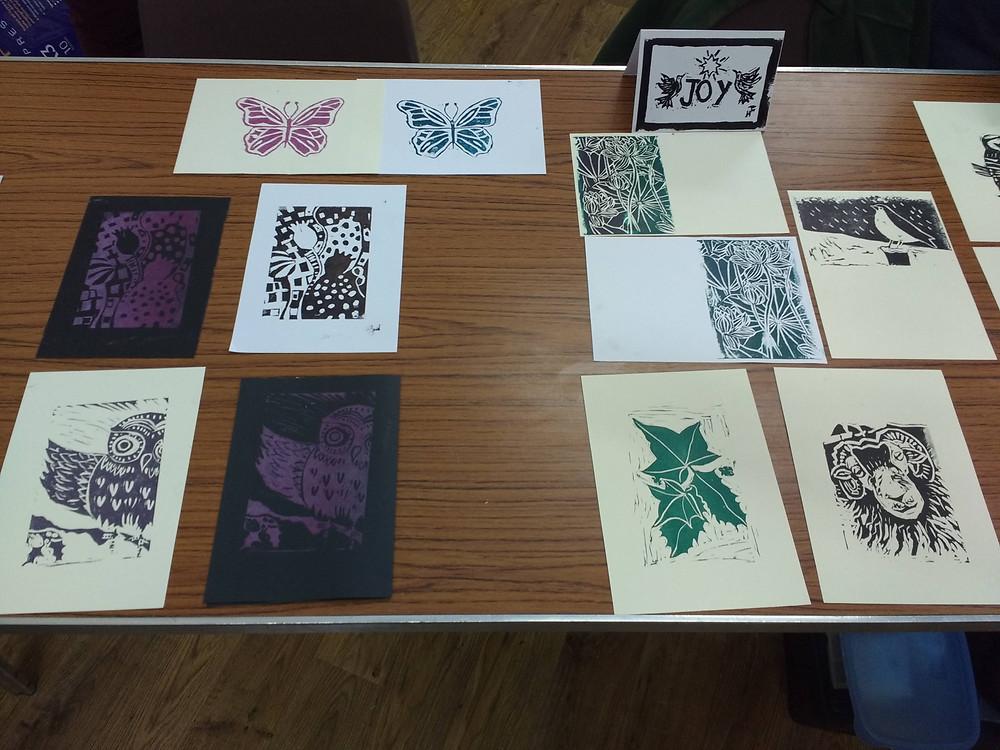 Christmas cards and linoprints at Watermillock Art Group
