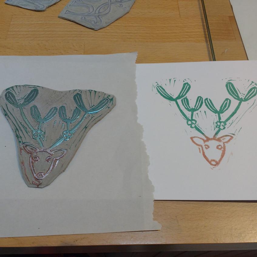 X Christmas cards and lino printing detail