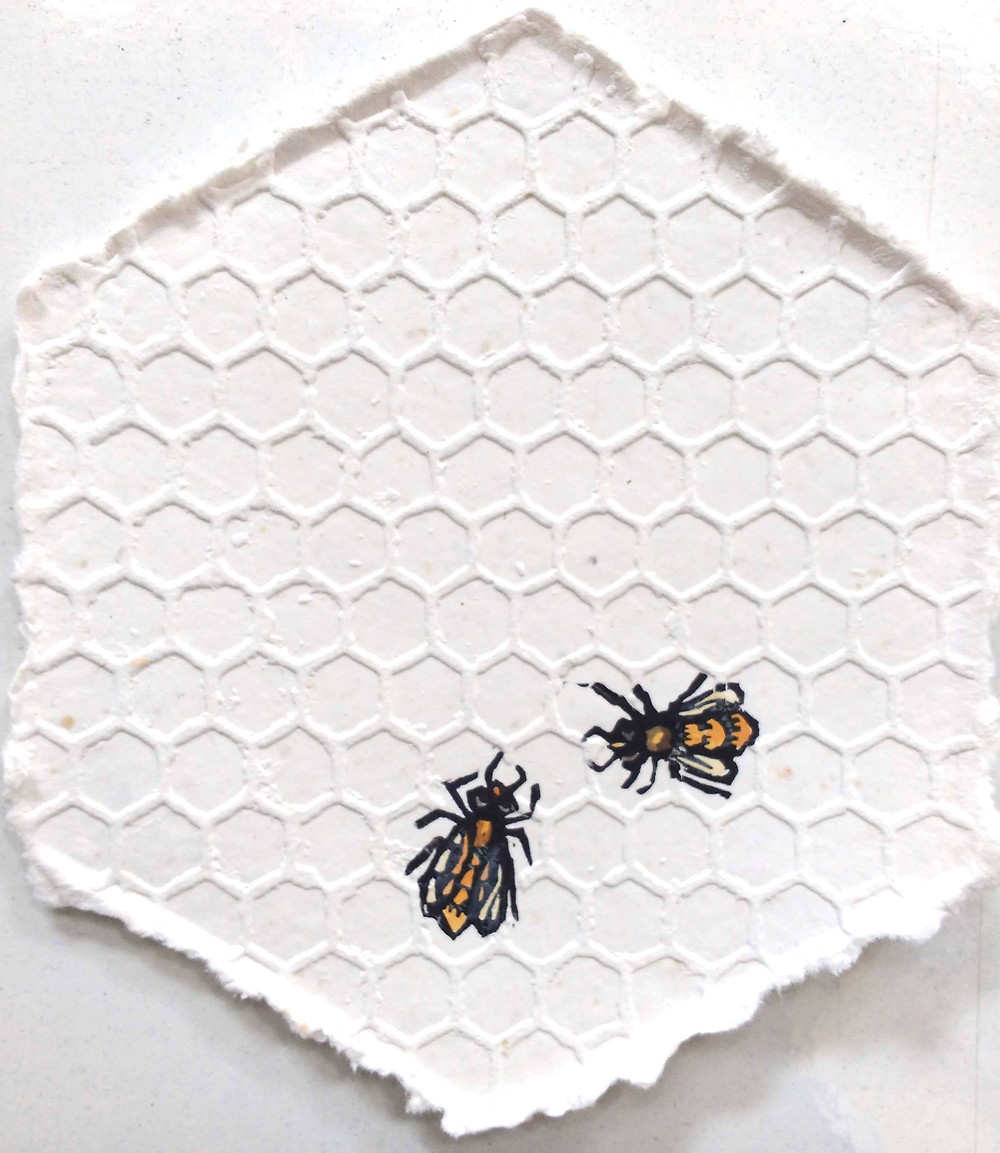 Bees, etching and lino by Vega Brennan