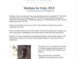 Meditate for Unity 2018 www.meditate forunity.com