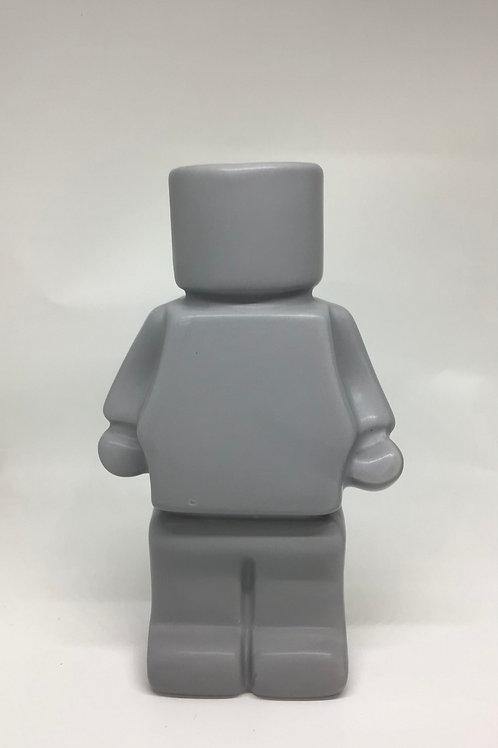 Block Man Planter- Grey
