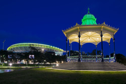 night shot of the rotunda in Elder park