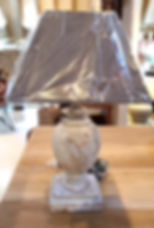 Aged urn shaped lamp & Grey square shade