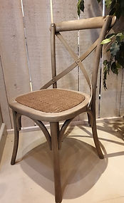 Bentwood crossback dining chair with rattan seat