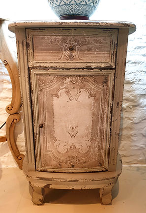 Pair of aged bedside cupboards