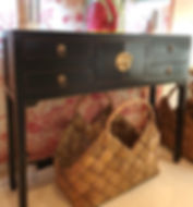 Black Chinese side table with 4 drawers and central cupboard
