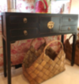 Black satin finish small side 4 drawer 2 door console