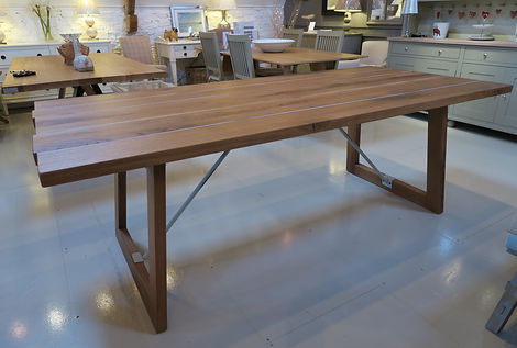 Italian designed and made Oak dining table at Ewan House Furniture Cirencester
