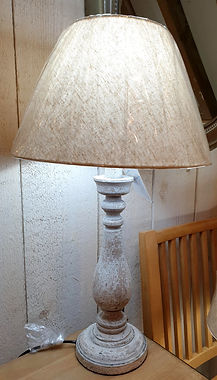 Distressed lamp base with natural shade