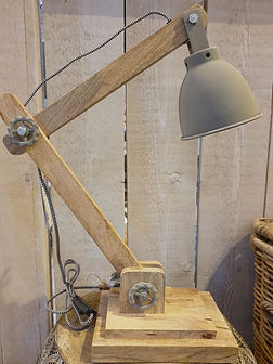 Wooden industrial desk lamp with concrete affect shade