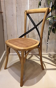 Bentwood dining chair with metal cross straps and rattan seat