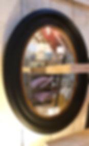 Black deep frame mirror with bevelled edge