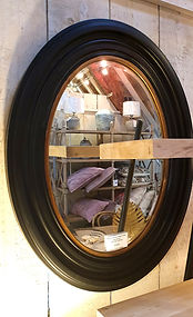 Black deep frame mirror with bevelled edge