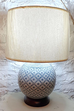 Blue and White china lamp with Cream shade