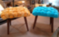 Velvet covered chunky woven stools
