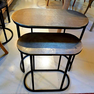 Pair of oval side tables in bronze aged finish