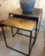 Set 2 square side tables in Antique Bronze finish
