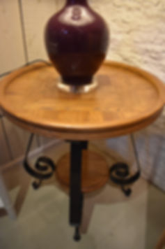 Elm and Iron side or lamp table