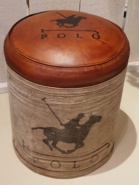 Leather and canvas stool with Polo logo