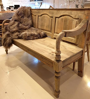 3 seater high backed panelled bench with arms
