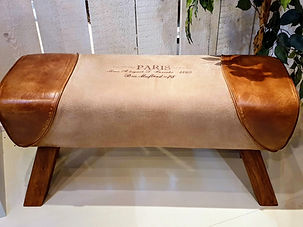Leather and canvas upholstered bench