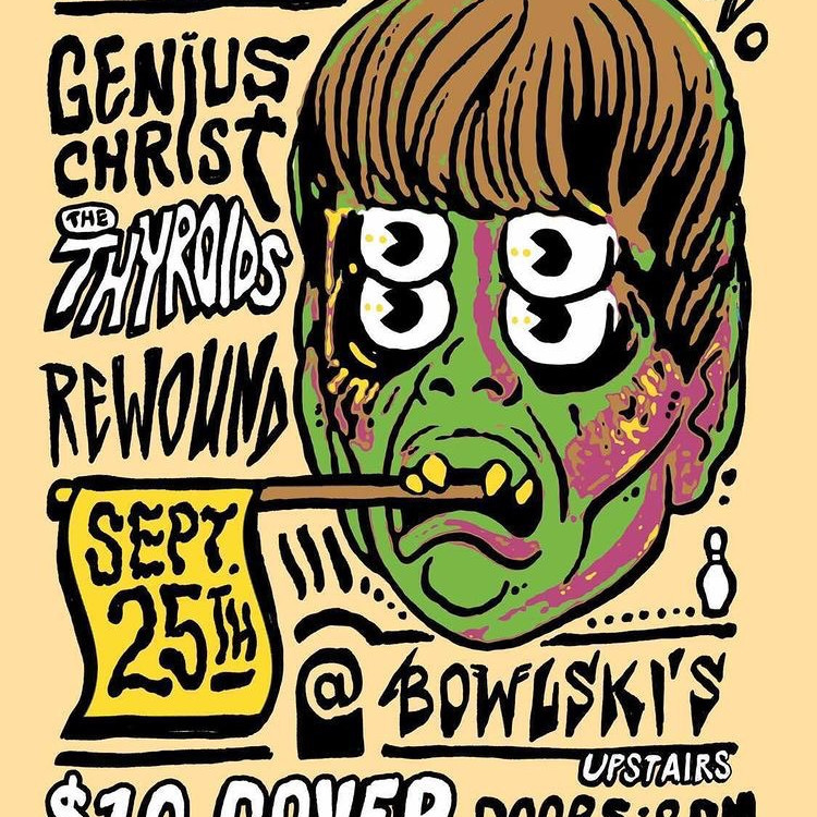 Barfwave presents Genius Christ, The Thyroids, and Rewound upstairs is the Projector Bar