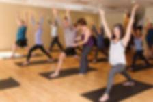 Yoga class having fun