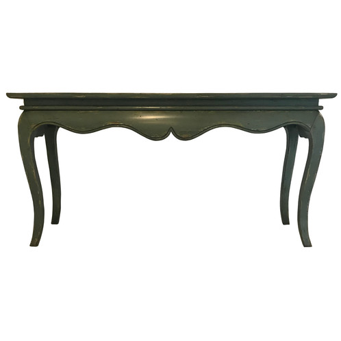 French Style Console Table In Green Distressed Finish