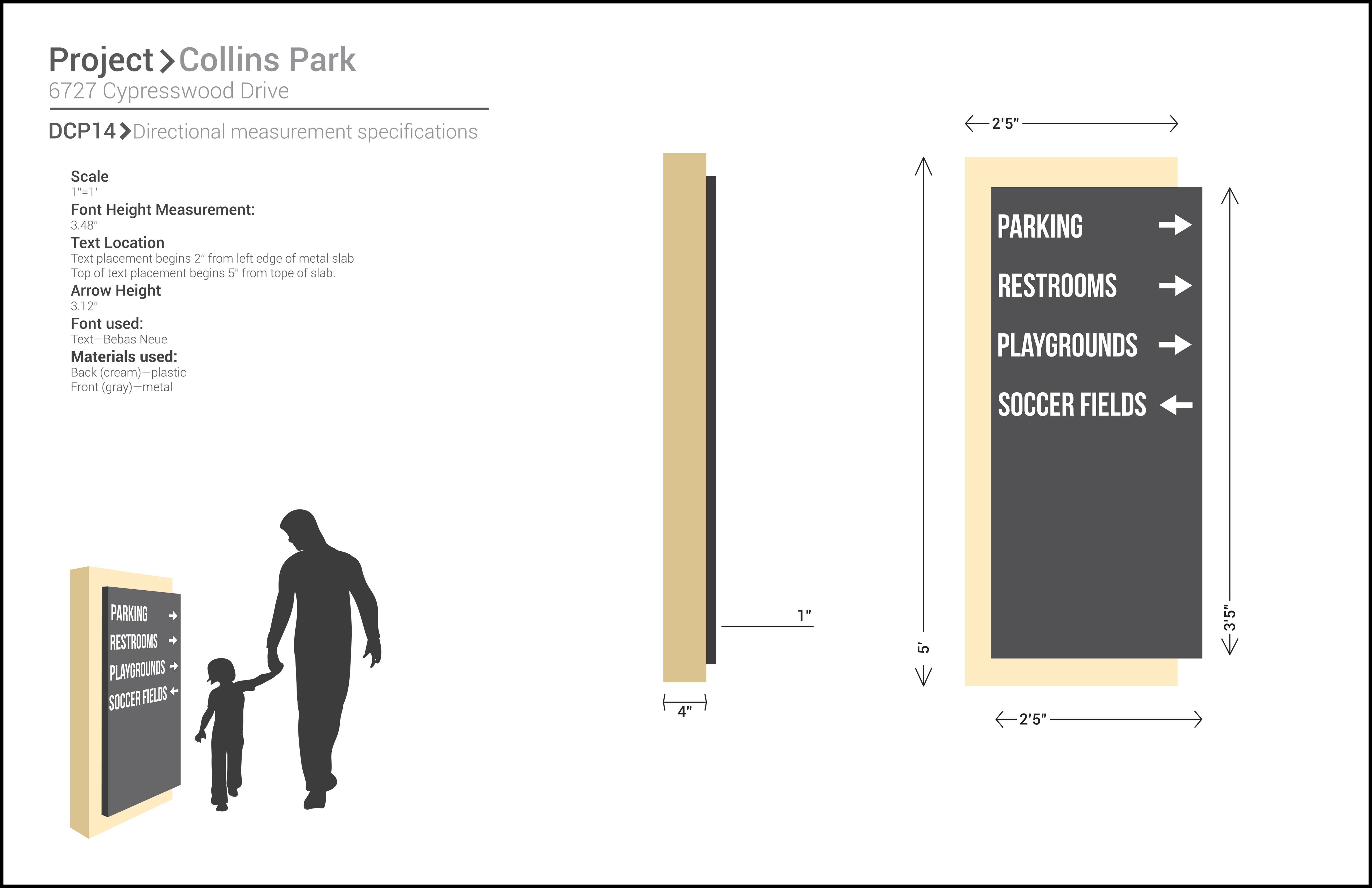 Collins Park Directional Sign
