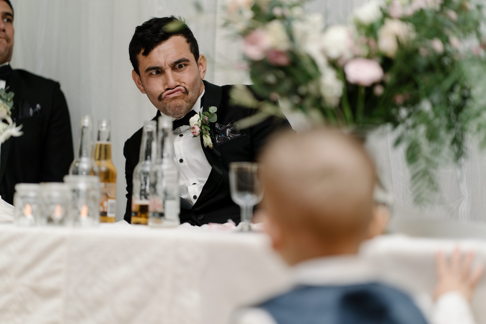 wedding guest at table