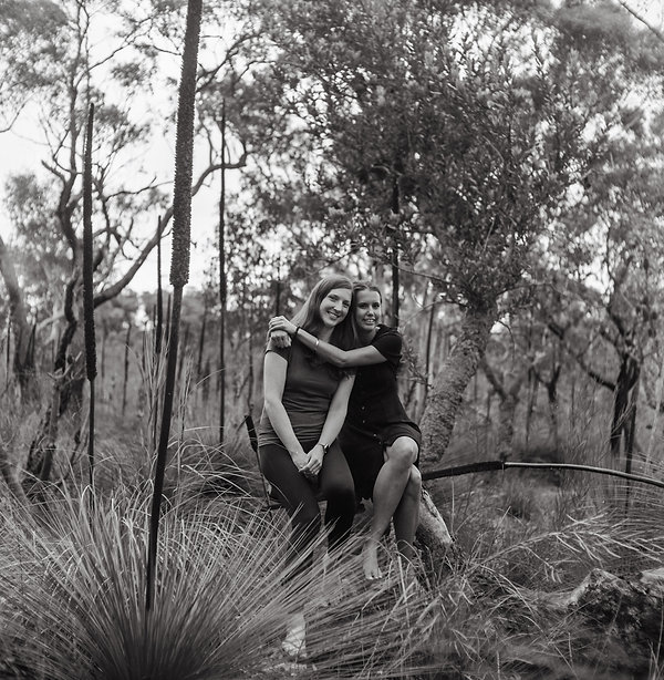 Southern Highlands couple portait in the bush, shot with vintage film camera