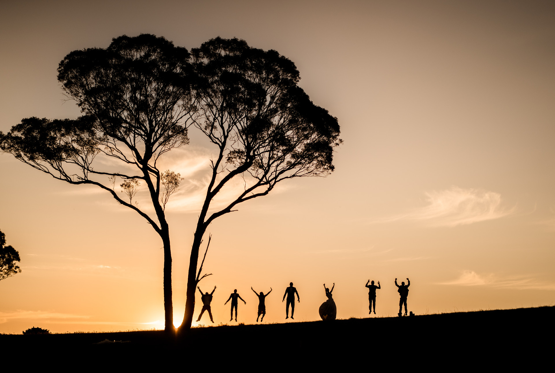 Party guests jumping in distance in sunset