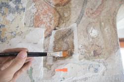 Notsicherung Wandmalereifragment