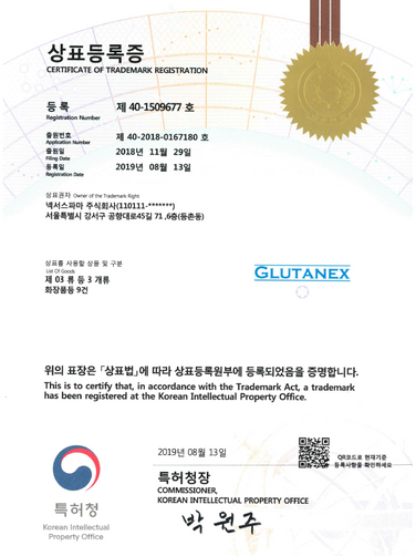 Glutanex Trademark Registration Certific