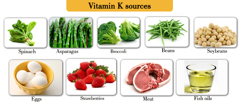 Food sources of K1 and K2