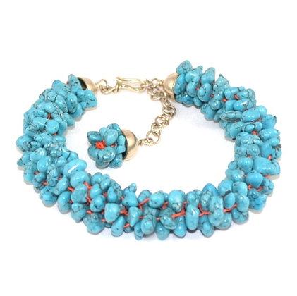 Bracelet Kumihimo Turquoises Baroques