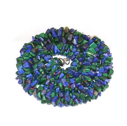 Collier Kumihimo Lapis Lazuli & Malachites