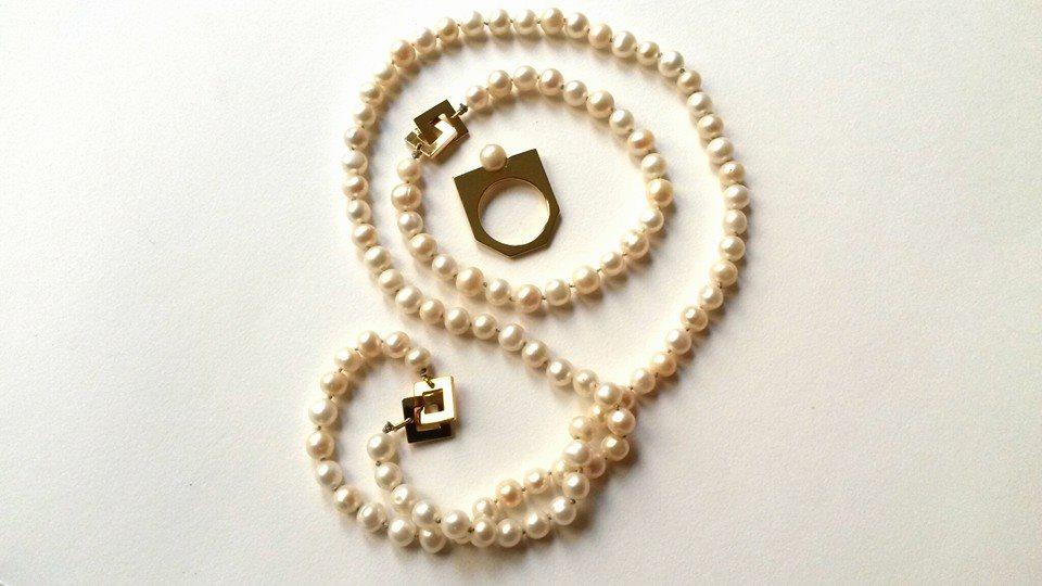 Collier+bague or et perles