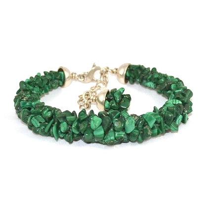 Bracelet Kumihimo Malachites