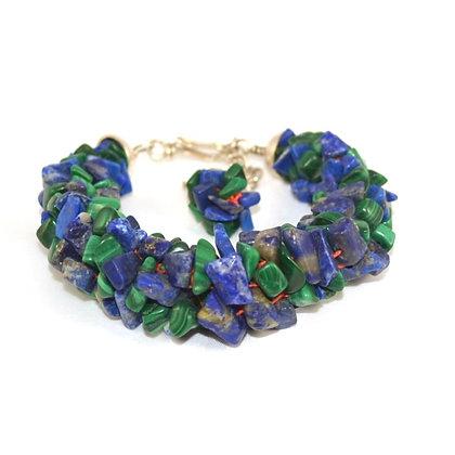 Bracelet Kumihimo Lapis Lazuli & Malachites