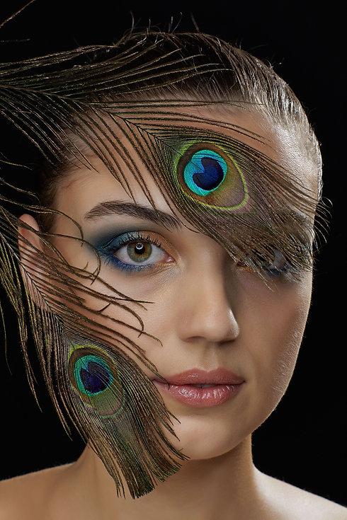Pfauen Make-up, kreatives Make-up