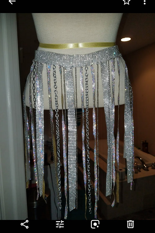 diamond waist chain skirt