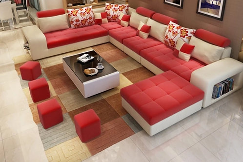 7 seater sectional Red/Cream