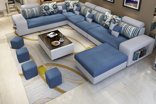 7 seater sectional blue/lt gray
