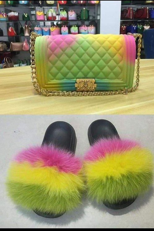 friendly furry slides with matching bag