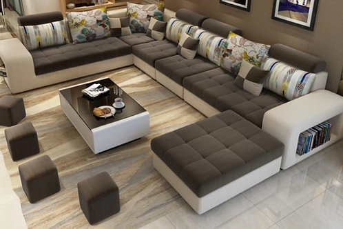 7 seater sectional/brown/ beige