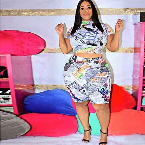 Read all about it 2pc white PLUS SIZE ONLY