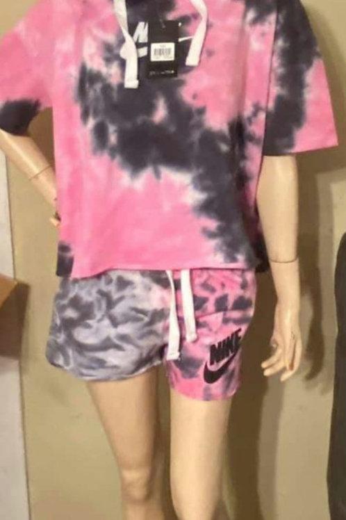 Tie dye pink black Nike 2pc