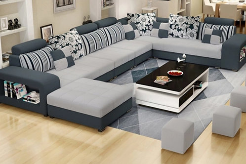 7 seater sectional/pastel blue/ash gray