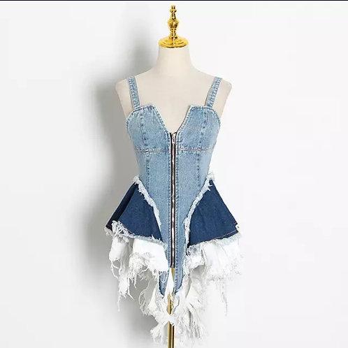 100% Custom Made Denim dress/front zipper